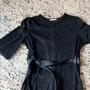 Zara black ultra suede 3/4 length sleeve midi dres